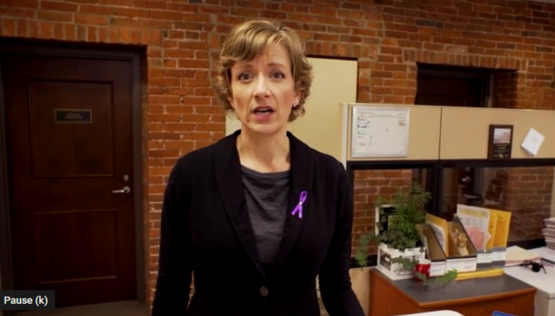 Screen capture of Erin casey, violence prevention advocate